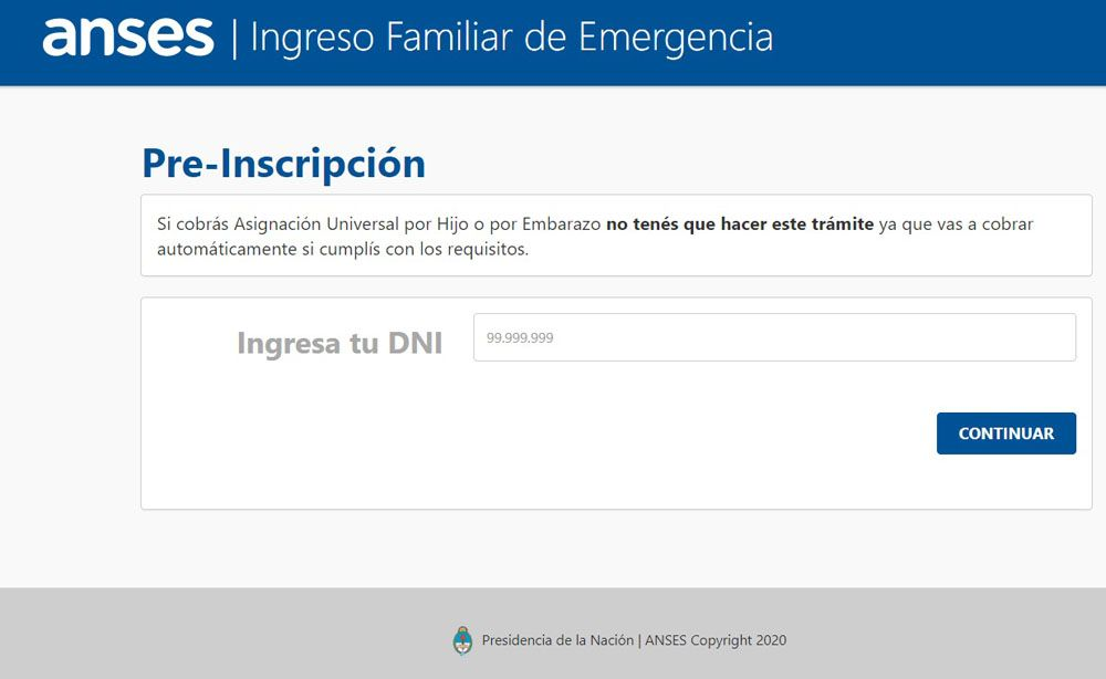Se prorroga la pre-inscripción al Ingreso Familiar de Emergencia
