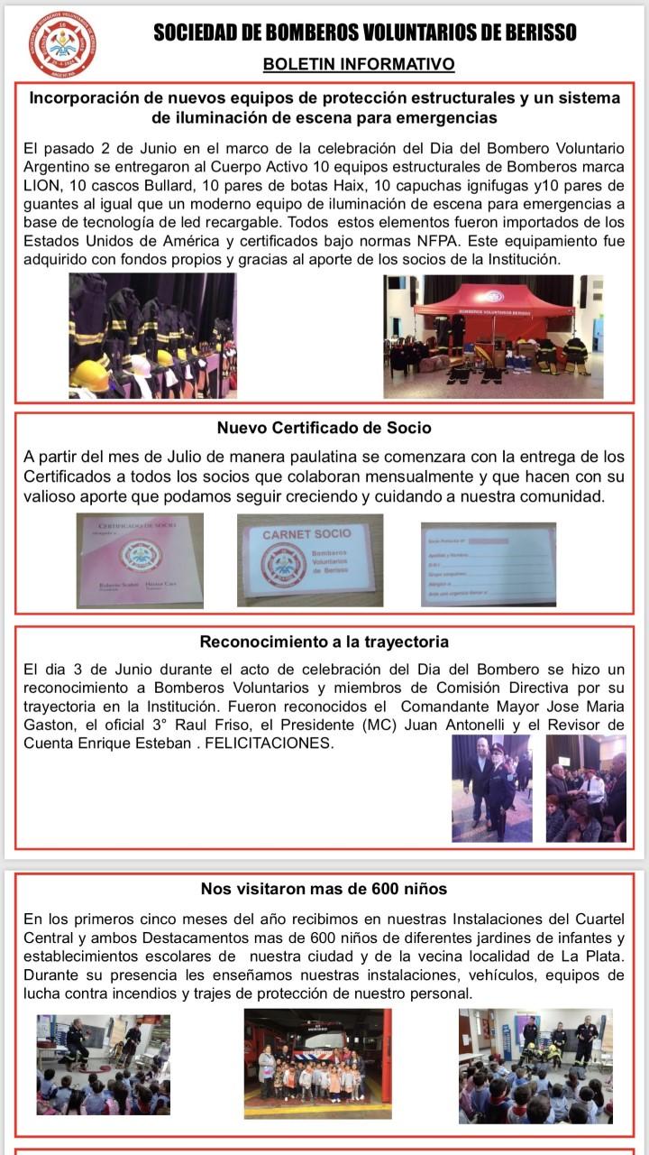 En el marco de la aplicación de distintas iniciativas, la Sociedad de Bomberos Voluntarios de Berisso lanzó el Boletín Oficial Número 1 del 2019.