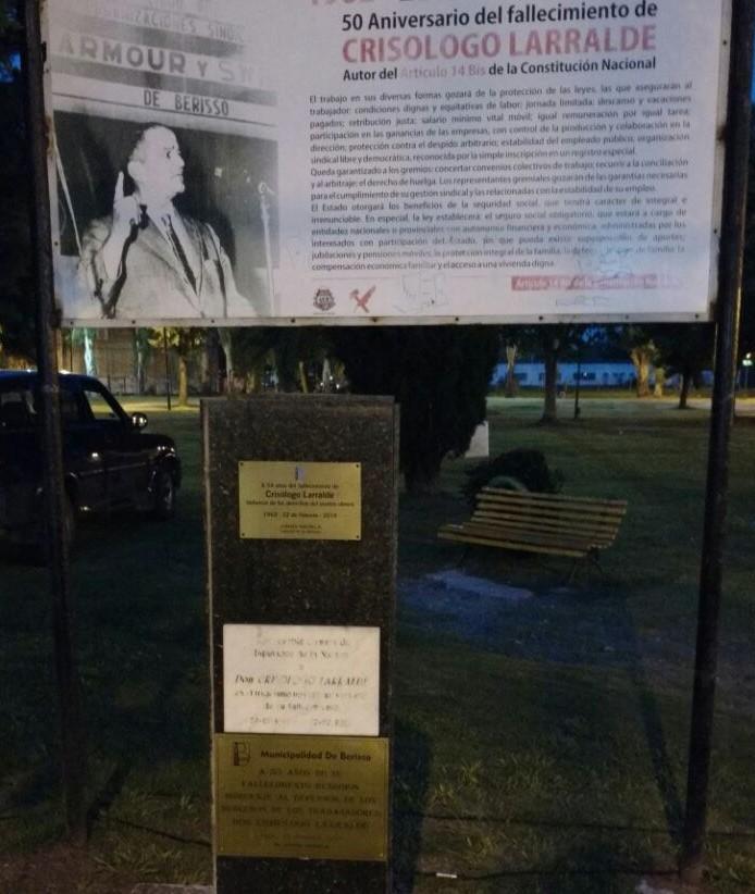 """Homenaje a Crisólogo Larralde: """"Murió en nuestro distrito haciendo su último discurso en defensa de los trabajadores"""""""