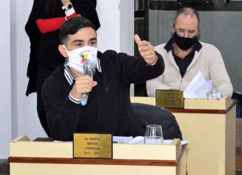 Matías Nanni, jefe de la bancada opositora en el Concejo Deliberante.