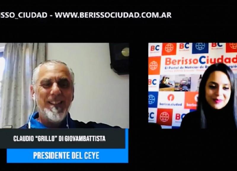 """Claudio """"Grillo"""" Di Giovammbatista en diálogo con BerissoCiudad."""