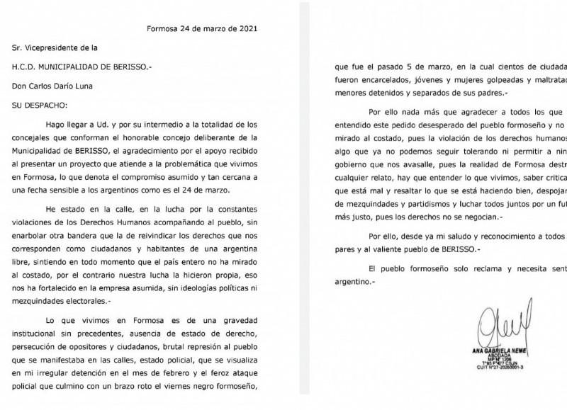Carta de la edil formoseña Gabriela Neme.