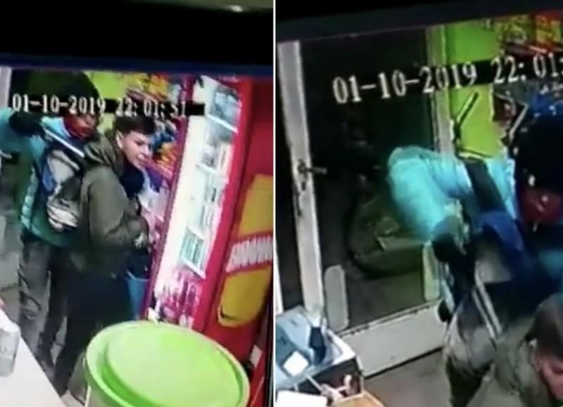 Dos secuencias del violento robo.