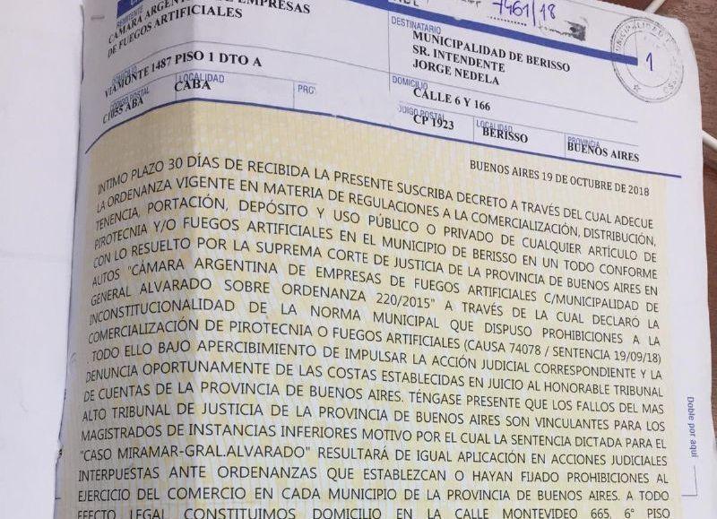 Carta documento de la Cámara sectorial.