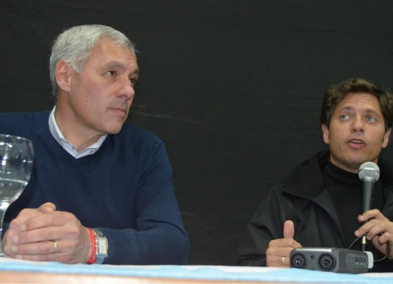 Fabián Cagliardi, candidato a intendente de Berisso por el Frente de Todos, junto al candidato a gobernador Axel Kicillof.