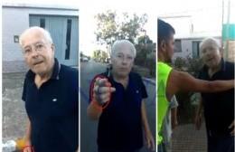 El hombre totalmente enojado con su vecino, al que agredió, discriminó y amenazó. (Foto: NOVA)