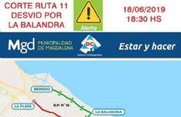 Durante la noche permanecerá cortada la ruta 11 a la altura del Arroyo El Pescado