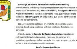 """El PJ en pleno repudió la """"campaña sucia"""" contra Cagliardi"""