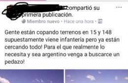 """Invitan desde Facebook a tomar terrenos con la condición de ser """"argentino"""""""