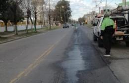Alerta por derrame de combustible en Avenida Montevideo