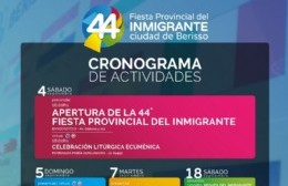 Cronograma de actividades en el marco de la 44° edición de la Fiesta Provincial del Inmigrante