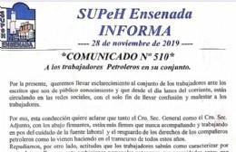 Comunicado de autoridades del SUPeH para los trabajadores petroleros