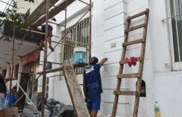 Habían grafiteado la Casa de Cultura y ahora repararon el daño realizado