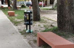 Cestos colmados de basura en la Plaza Almafuerte